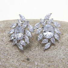 Spring Flower Plant Cubic Zirconia Platinum Plated Stud Earrings Birthday Gift
