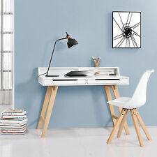 [en.casa]® Retro Schreibtisch weiß Buche Computertisch Büro Tisch Konsole