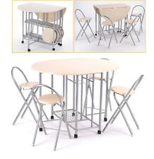 Extending Dining Table and 4 Chairs Small Kitchen Folding Drop Leaf Dining Set