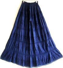 GYPSY NAVY EMBROIDERED ELASTIC CROCHET  LACE & COTTON MAXI SKIRT  12 14 16 18 20