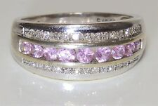 9CT WHITE GOLD   PINK SAPPHIRE & 0.1CT DIAMOND BOMBE ETERNITY RING  Size M