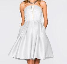 Kleid Abendkleid Coctailkleid Party leicht glänzend weiß silber Gr 44 Art 46