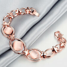Women Fashion 18K Rose Gold Plated Hollow Chain Crystal Opal Bracelet Jewelry