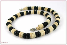 BLACK & CREAM CERAMIC BEAD NECKLACE BY EARTH & SURF, HIPPY, SURF, BOHO. (16)