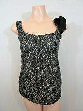 Cue Black & Cream Pola Dot Cotton Blend Top Size 8