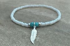 White Beaded Surfer Style Bracelet Turquoise Feather Silver Charm Stretchy Boho