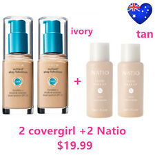 TWO Covergirl Outlast Stay Fabulous 3 in 1 Foundation IVORY + TWO Natio TAN