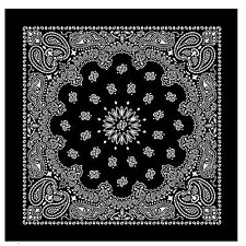 Black Bandana Scarf Extra Large 100% Cotton White Paisley Headscarf 27 inch Sq