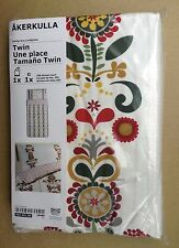 IKEA AKERKULLA Duvet Quilt Cover Set, White Country Floral, Twin Size Cotton
