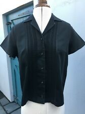 Vintage 1950s Black Embroidered Top Button Front Blouse