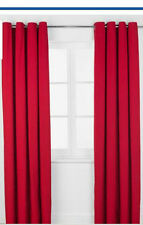66x72 Poppy Red Ring Top Curtains Readymade Kids Girls Boys Bedroom Eyelet