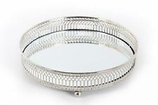 """20 cm 8"""" Mirror Glass Candle Plate Display Tray Decorative Antique Silver Metal"""