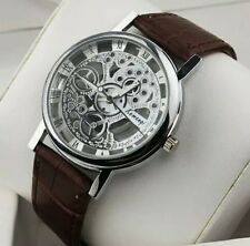 Luxury Men's Hollow Skeleton Manual Mechanicall Stainless Steel Wrist Watch