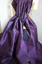 DUNELM CURTAINS PURPLE AUBERGINE FAUX SILK BLACKOUT LINED SHEEN PENCIL PLEAT