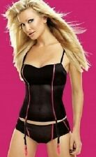 Caprice Midnight Black with Pink Trimmings Basque with Suspenders Bra 36A 10/12