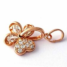 womens rose gold filled cute flower jewelry Crystal stone pendant for necklace