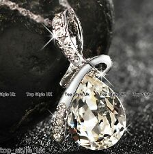 Tear Drop Clear Diamond Necklace Pendant  Gift Present for her Girl wife lady  3