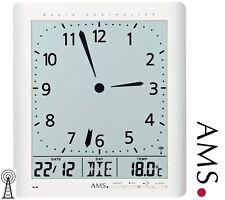 AMS 5896 Wanduhr Funk Anzeige von Zeit, Datum, Wochentag, Temperatur, Funkuhr
