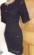 Karen Millen ❤️  Lovely Crochet Knit dress size 2 UK  8 10 Black Boho dress