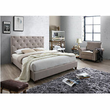NEW Double Size Fabric Bed Frame - Oat White