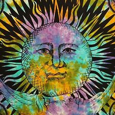 Indian  Rainbow Tie Dye Sun & Moon  Wall Hanging Hippy Tapestry  228 x 208 cm