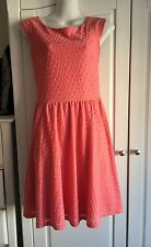 BNWT DOROTHY PERKINS Coral Pink Textured Skater Summer Party Dress Size 14