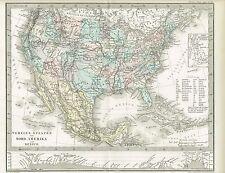 Politische Karte USA / MEXIKO, Original-Kupferstich 1876