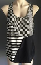 Pre-owned SABA Silk Black & Grey Stripe Sleeveless Tank Top Size 12 (M)