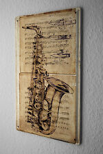 Tin Sign Bar Party Wall Decoration  Saxophone music instrument Metal Plate