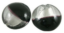 10 x Silver Foil Glass Disc Beads ~ Black & Clear~ 20mm