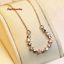 Rose Gold Fill Bridal Lucky Horseshoe Necklace Made With Swarovski Crystal N141