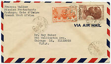 FRENCH IVORY COAST KOROKO PROTESTANT MISSION AIRMAIL to CHICAGO 20F + 2F
