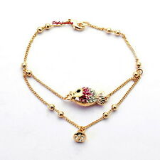 18k Rose Gold Plated Swarovski Crystal Women Little Pink Fish Chain Bracelet T17