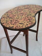 VINTAGE KIDNEY SHAPED SIDE/OCCASIONAL TABLE WITH CHEEKY 1950'S FASHION DECOUPAGE