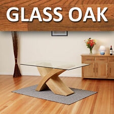 Glass Top w/ Oak Cross Base Dining Table Room Furniture 160cm