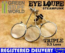 SteamPunk EYE LOUPE - TRIPLE MAGNIFIER MAGNIFYING - Clip On Type - Watch Repair