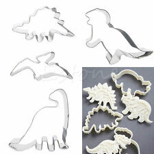 4X Stainless Steel Dinosaur Baking Fondant Biscuit Cookie Mold Cutter Party Cake
