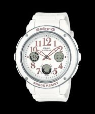 BGA-150EF-7B White Casio Baby-G Ladies Watches Analog Digital Neon Packy Resin