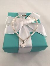 """Tiffany & Co Silver Heart Tag On A Freshwater Pearl Bracelet 7"""". RRP $455"""