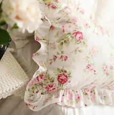 Shabby Chic Cottage Floral Ruffled Square Cushion Pillow Cover White Cotton
