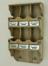 French Wooden Wall Shelf Unit Storage Cabinet Display Metal Vintage