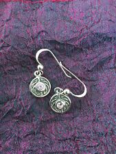 Celtic Knotwork Earrings + central Amethyst Faceted Gemstone, Pagan Spirituality