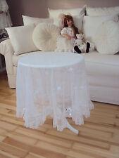 Tischdecke * Tischtuch Rund  * Spitze * Tüll * Rosen * Ø120cm * Weiß Ranke *