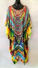 Colourful Embellished Satin Kaftan Long Maxi Digital Printed Size 16-18-20-22-24