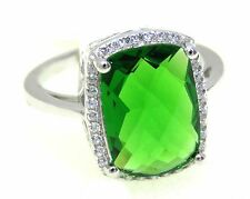 #R4734 5ct Radiant Forest Green Helenite White Gold Over 925 Silver Ring