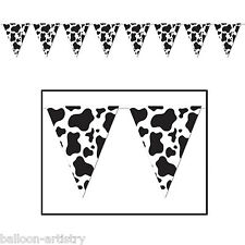 12ft Wild West Western Cow Print Party Pennant Banner Bunting Decoration
