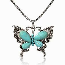 Hot Genuine Turquoise Diamante Crystal Butterfly Charm Pendant Necklace Gift