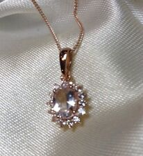 .90 Ct Marropino Morganite Pendant & Chain In Rose Gold Overlay Sterling Silver