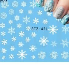 Nail Art Water Decals Stickers Christmas Matte Snow White Snowflakes (421W)