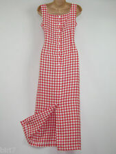 LAURA ASHLEY VINTAGE GINGHAM CHECK LONG-LENGTH SUMMER SHIFT DRESS, 10